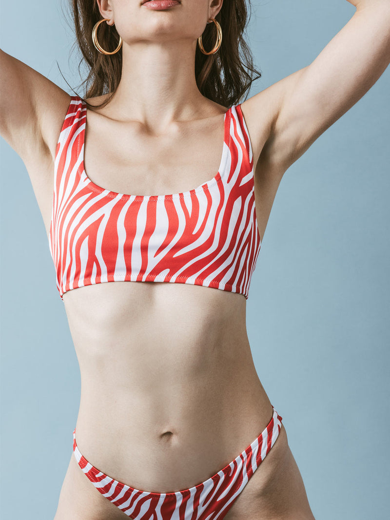 Red and white two piece swimsuit