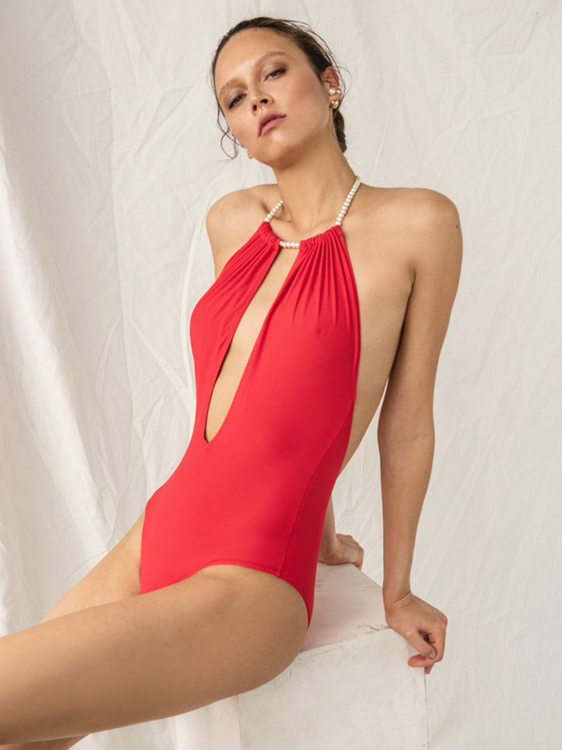 One Piece Swimsuit Linda In Red Color