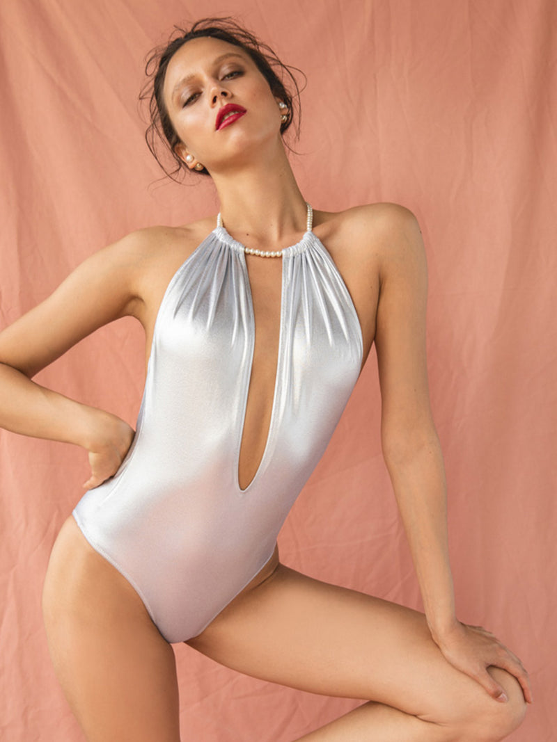 One Piece Swimsuit Linda In Silver Color