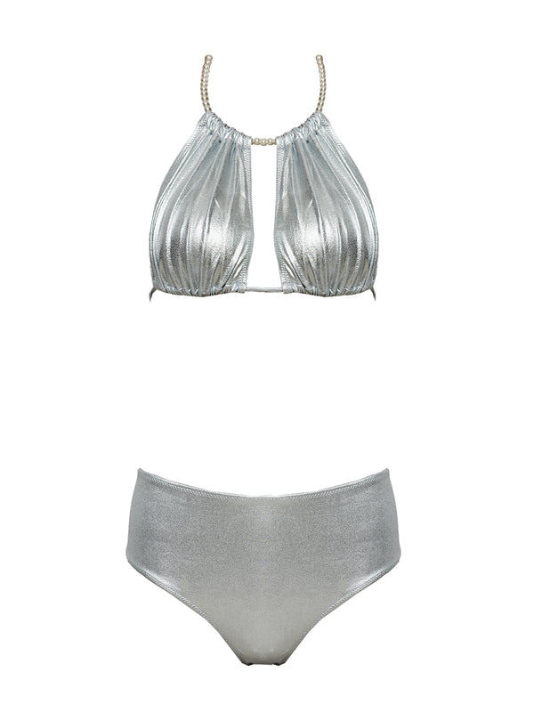 Silver two piece high waisted swimsuit