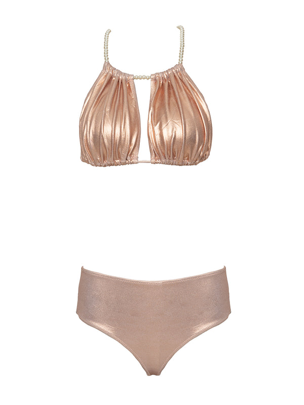 Two piece high waisted swimsuit in rose gold