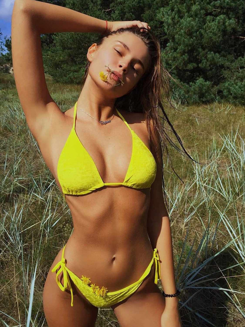 Yellow two piece swimsuit