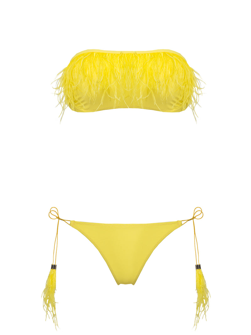 Yellow two piece swimsuit with feathers