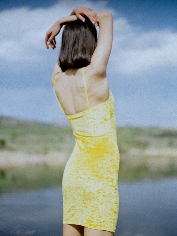 yellow velvet dress
