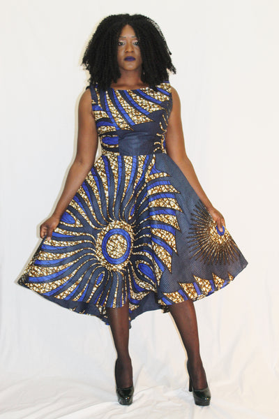 Robe africaine, robe wax, robe pagne africain, robe asymétrique