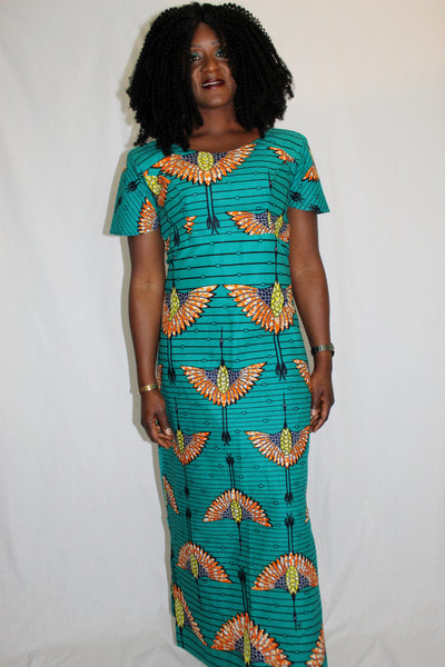 Robe africaine, robe wax, robe pagne africain, robe bleue