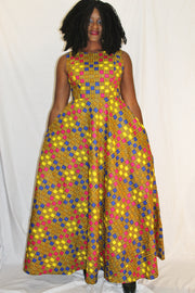 Robe longue africaine colorée, robe wax, robe pagne africain
