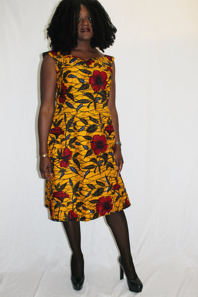 Robe africaine, robe courte wax, robe pagne africain, vêtement femme
