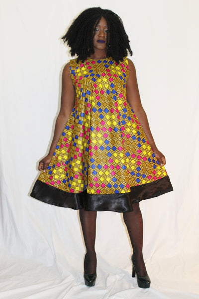 Robe courte africaine, robe africaine wax, robe pagne africain