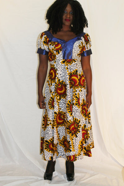 Robe mi-longue wax, robe dashiki