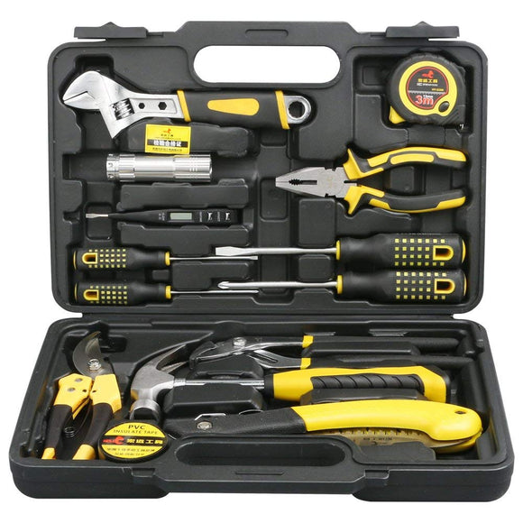 14 Pieces Homeowner Tool Set, Home Repair Hand Tool Kit with Plastic Tool box Storage Case