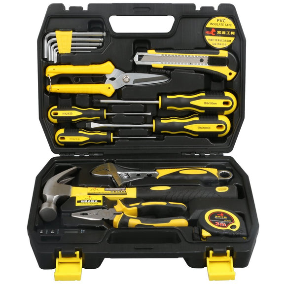 17 PCS Tool Set, General Portable Hand Tools Set With Plastic Tool Box Storage Case