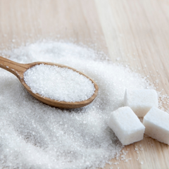High sugar consumption and accelerated aging. Spoon of sugar.