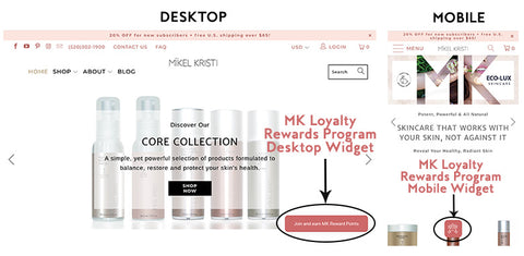 Mikel Kristi skincare Loyalty Rewards Program Widget Instructions for desktop and mobile
