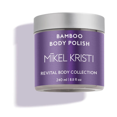 Bamboo Smoothing Body Polish by Mikel Kristi Skincare 8oz jar side view with plumb label