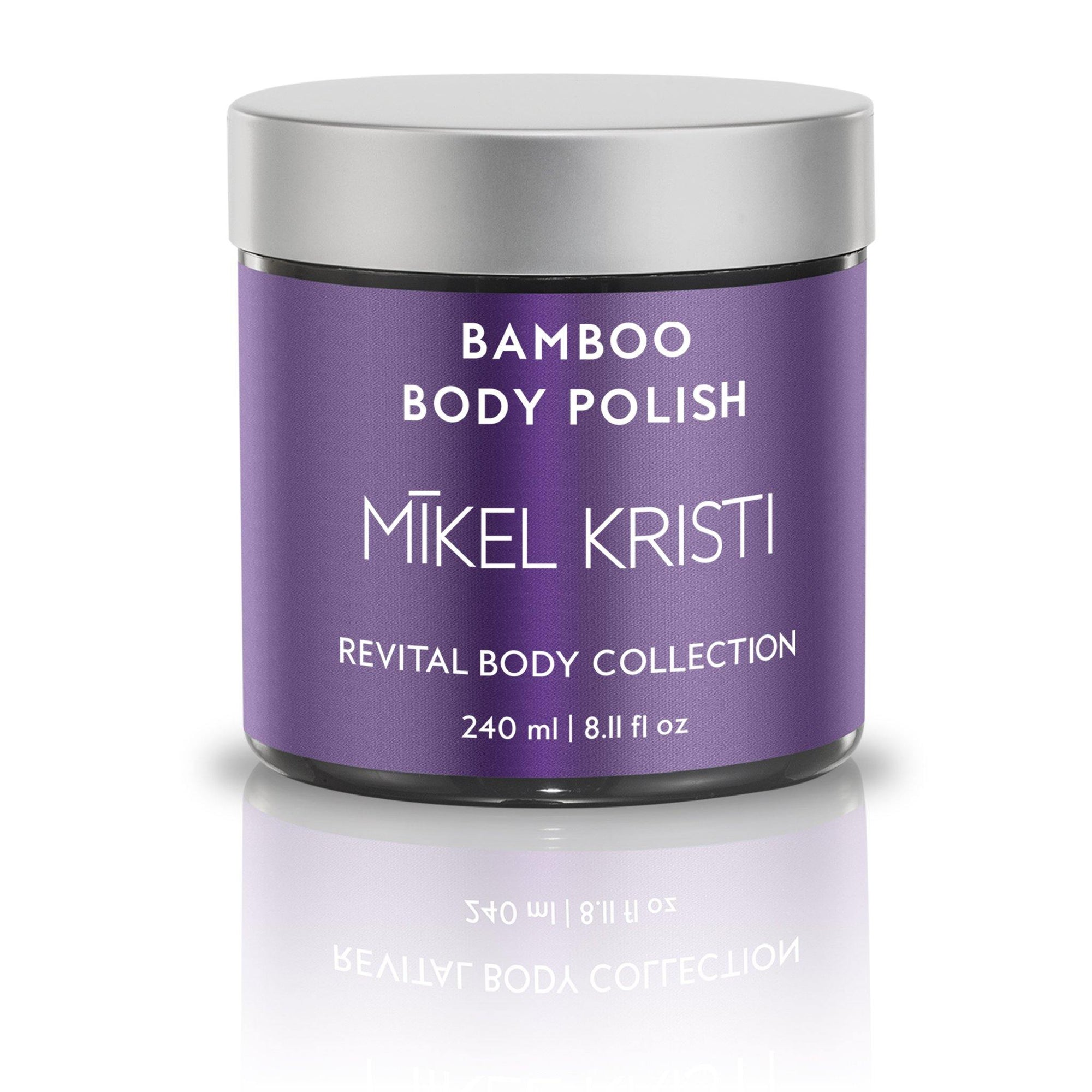 Bamboo Smoothing Body Polish by Mikel Kristi Skincare 8oz jar with plumb label