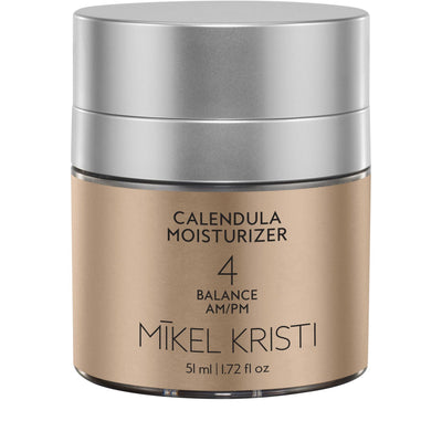 Calendula Anti Inflammatory Moisturizer 50 ml in airless pump jar with gold metallic label - Mikel Kristi Skincare