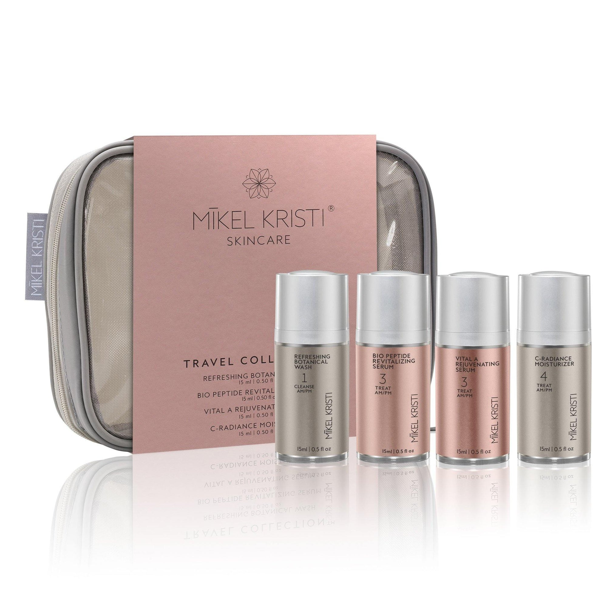 Travel Collection by Mikel Kristi in gray, TSA ready travel toiletry bag, facial wash, 2 serums, and moisturizer