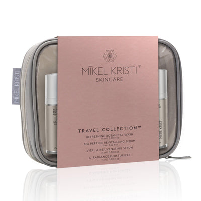 Mikel Kristi Travel Collection skincare regimen. Contains the Core 4 products that come in airless pump 15ml bottles. TSA ready travel bag included.