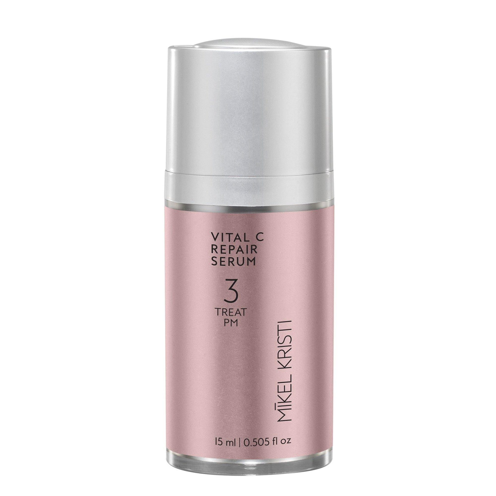 15ml airless pump bottle with pink metallic label black text, step 3 - Treat in the Mikel Kristi Skincare daily regimen