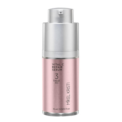 Michael Christy, Michael Christie, Mikel Kristi Skincare Vital C Repair Serum 15ml bottle. Pink metallic label on airless pump bottle.