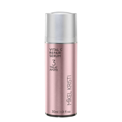 Mikel Kristi Skincare (Michael Christy skincare) Vital C Repair Serum in 30ml airless pump bottle with pink metallic label Step 3 treat