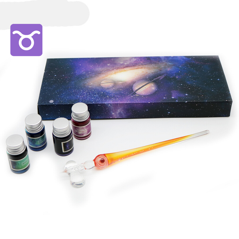 The Constellation Series Glass Dip Pen with 4 Inks Gift Set