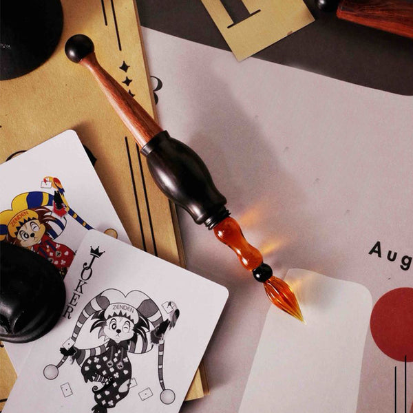 The Joker Glass Dip Pen with wooden body and cap