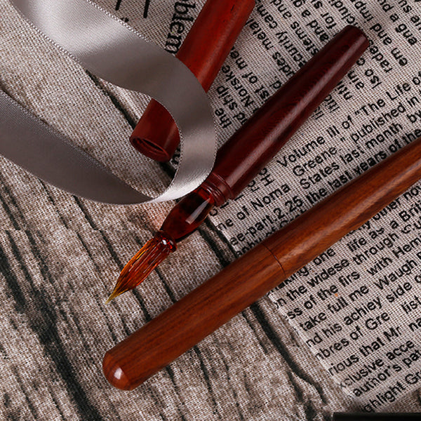 Handmade Classic Wooden Glass Dip Pen with Cap