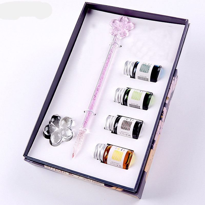 Four Seasons - Sakura Glass Dip Pen Set with Ink and Rest