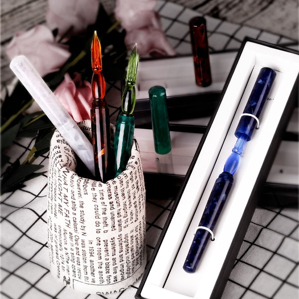 Premium Handmade Glass Dip Pen with Resin Pen Body and Cap