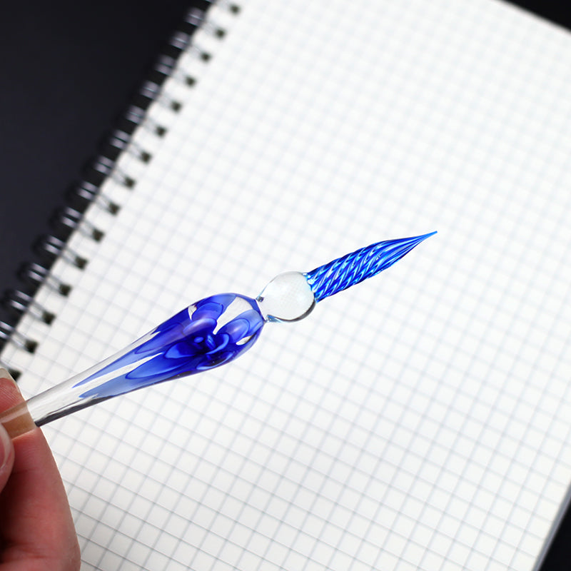 3D Flower Glass Dip Pen with Ink - Crystal Pen with Flower Inside