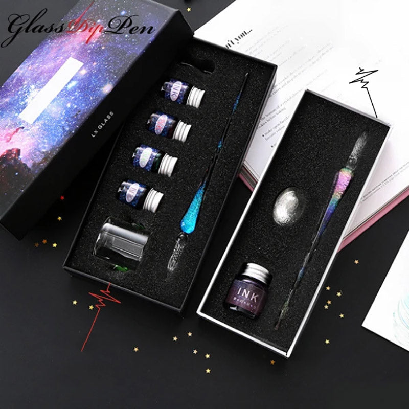 Gold Glass Pen - Galaxy Glass Dip Pen Gift Set with inks
