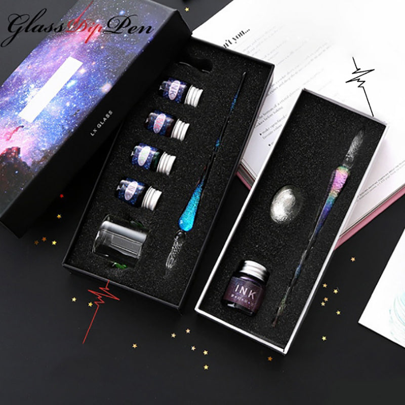 The Thor Series - Galaxy Glass Dip Pen Gift Set with inks - White