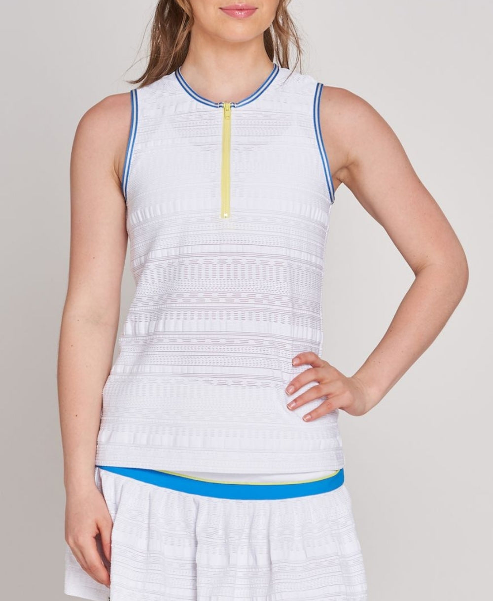 Zip Front Tank - Blue/Yellow