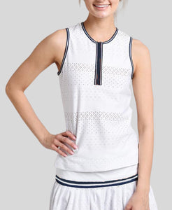 Zip Front Tank - White/Navy