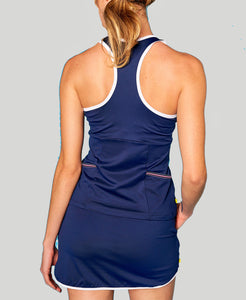 Baseline Pocket Racerback - Navy - Pink/Blue