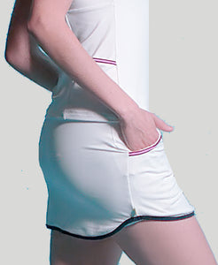 Baseline Pocket Skort - White - Pink/Blue