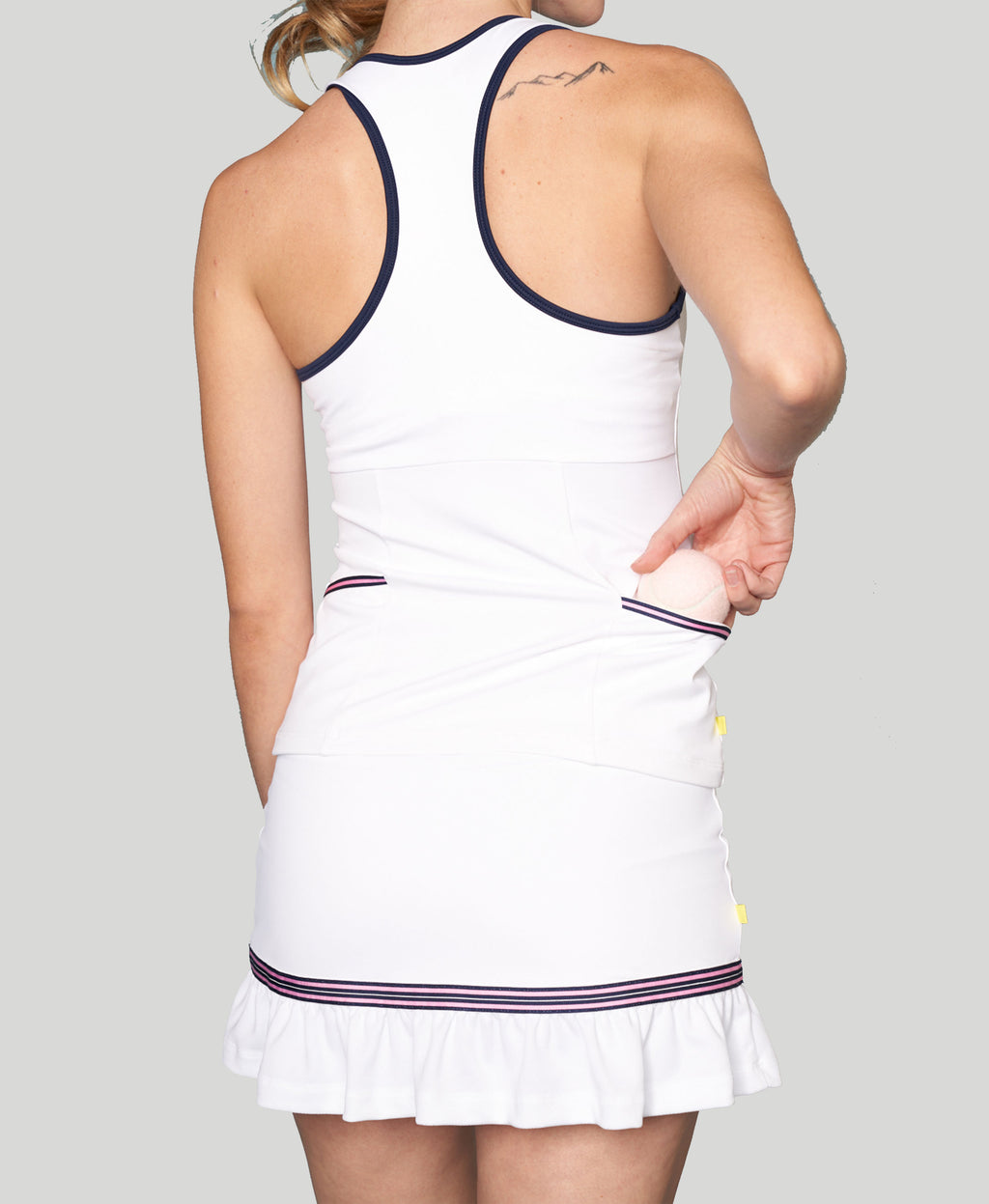 Baseline Pocket Racerback - White - Pink/Blue