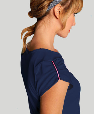 Baseline Ruched Sleeves Shirt - Navy - Pink/Blue