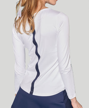 Backstripe Longsleeve Shirt - White/Navy