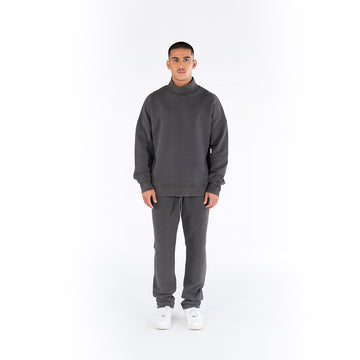 HIGH-NECK JUMPER - CHARCOAL GREY