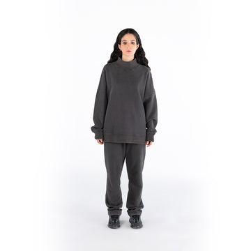 HIGH-NECK JUMPER - CHARCOAL GREY.