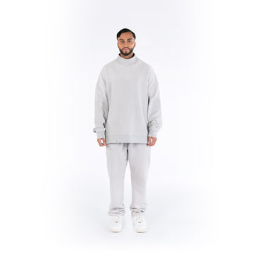 HIGH-NECK JUMPER -  LIGHT GREY