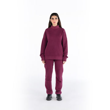 HIGH-NECK JUMPER - MAROON.