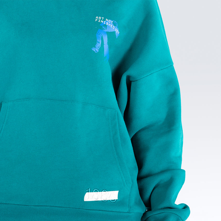 ART NOT FINISHED YET - GREEN HOODIE.
