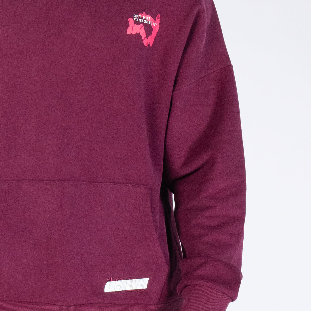 ART NOT FINISHED YET - MAROON HOODIE