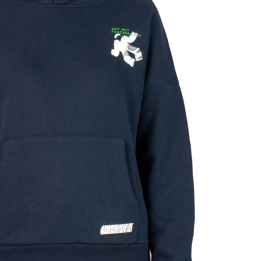 ART NOT FINISHED YET - NAVY BLUE HOODIE.