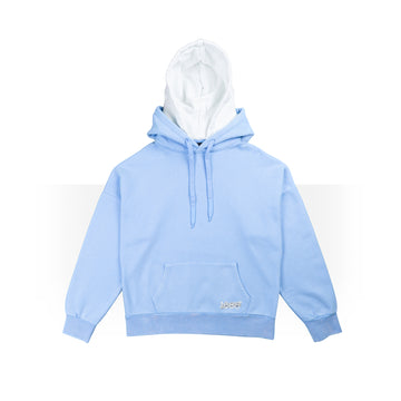Baby Blue/White Double Hoodie Women