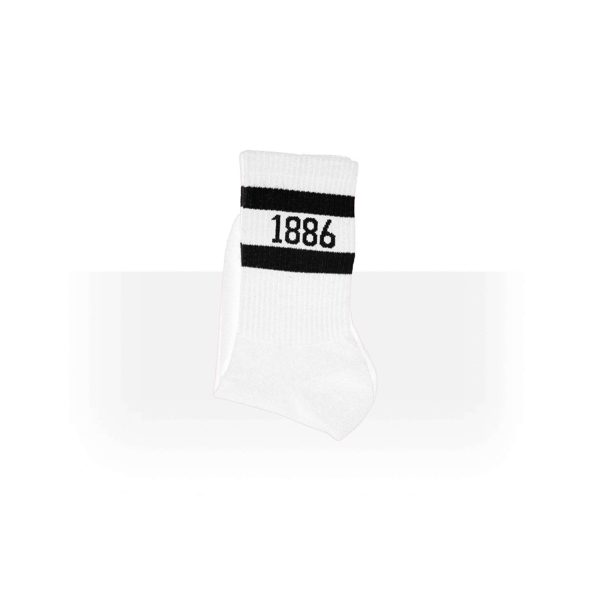"""1886"" White and Black Anklet Socks"